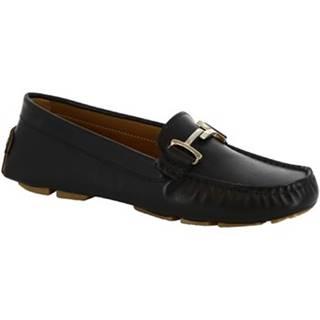 Mokasíny Leonardo Shoes  227 VITELLO NERO