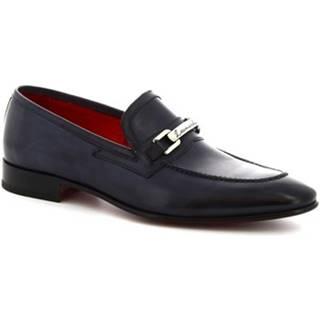 Mokasíny Leonardo Shoes  7675  MONTECARLO BLU