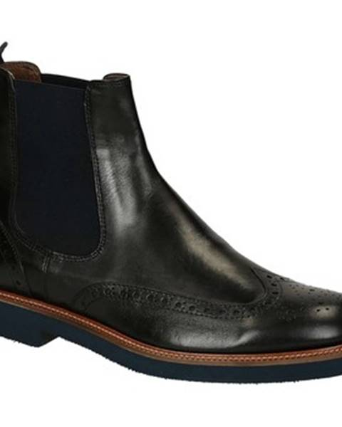Čierne polokozačky Leonardo Shoes