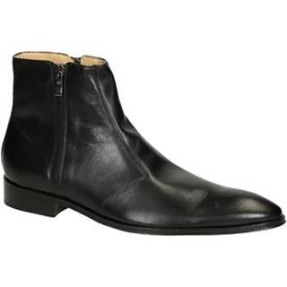 Polokozačky Leonardo Shoes  PINA 467 VITELLO NERO