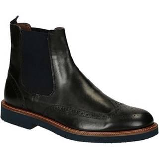 Polokozačky Leonardo Shoes  U385 PE VITELLO NERO 8260 C024
