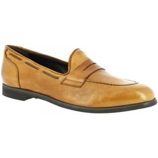 Mokasíny Leonardo Shoes  809/2 PAPUA BEIGE CUOIO