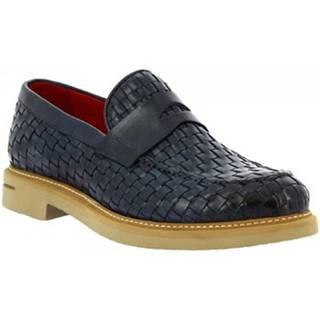 Mokasíny Leonardo Shoes  9462E20 VITELLO AV BLU