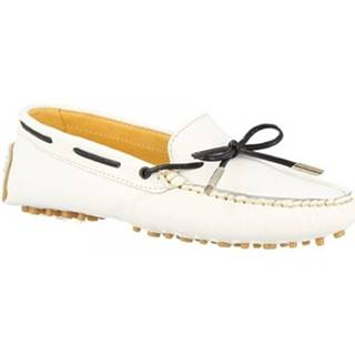 Námornícke mokasíny Leonardo Shoes  502 VITELLO BIANCO PIOLI