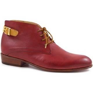 Nízke čižmy Leonardo Shoes  PINA 045 RED/TAN