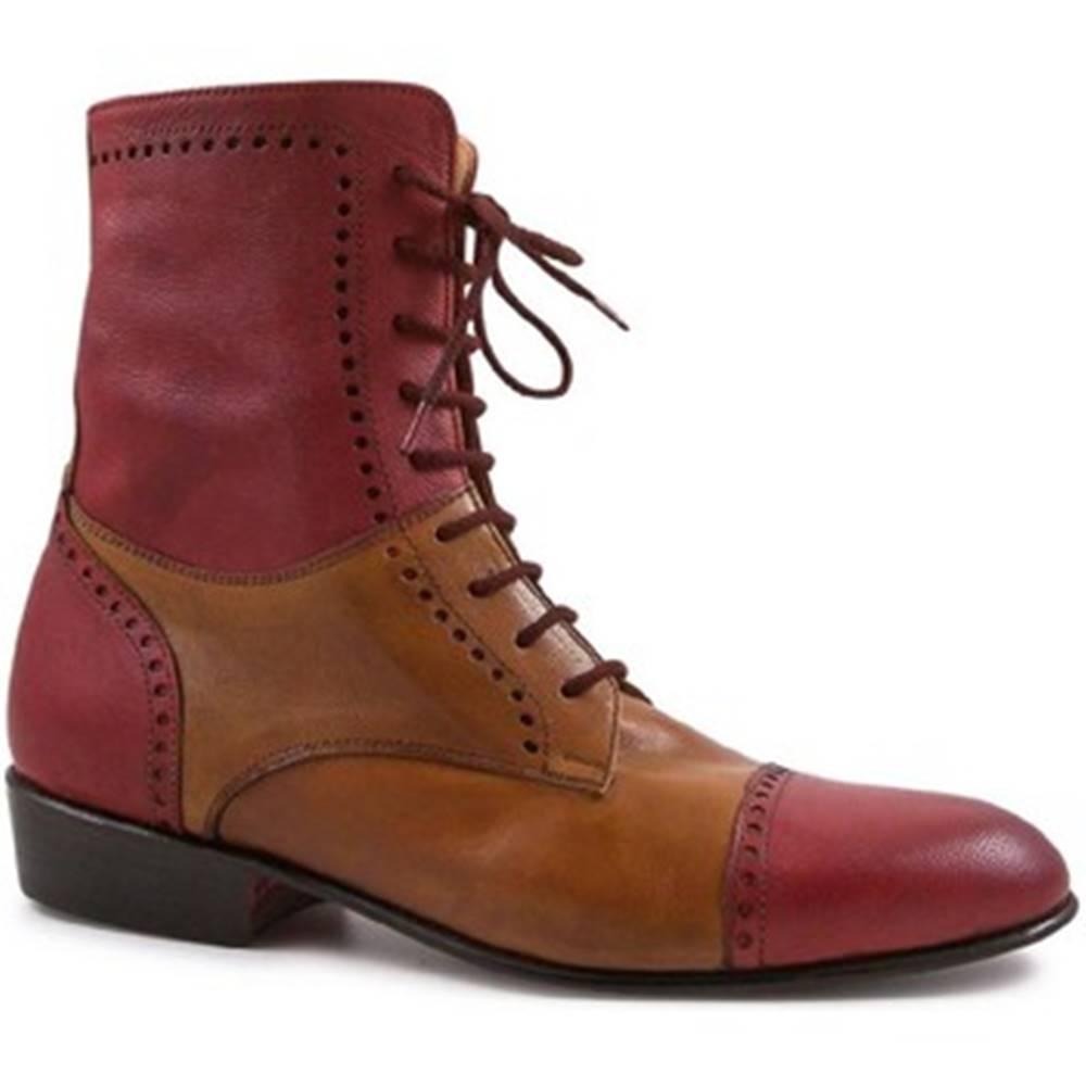 Leonardo Shoes Čižmy do mesta Leonardo Shoes  PINA 046 ROSSO/CUOIO