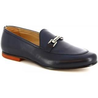 Mokasíny Leonardo Shoes  1070_1 PE VITELLO BLUE