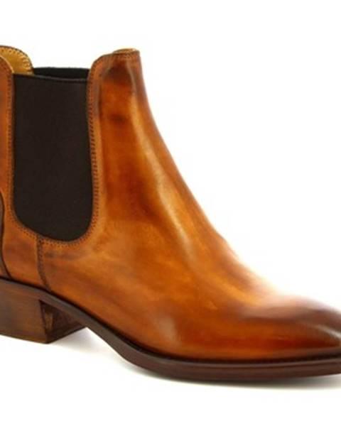 Hnedé čižmy Leonardo Shoes