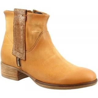 Polokozačky Leonardo Shoes  601231 OCRA TAN OCRA