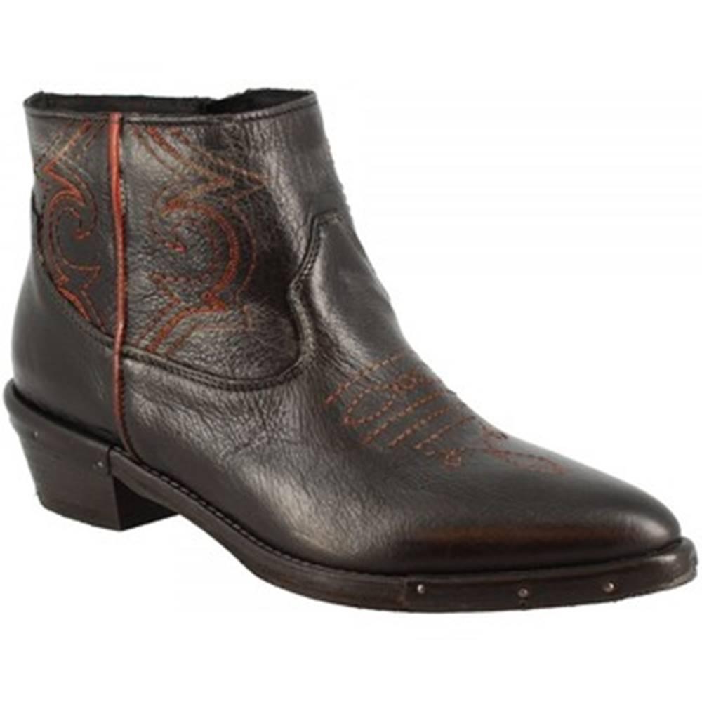 Leonardo Shoes Polokozačky Leonardo Shoes  RCA64F STONE MUFFA NERO