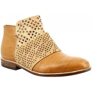 Polokozačky Leonardo Shoes  166208 CUOIO CARAMEL CUOIO