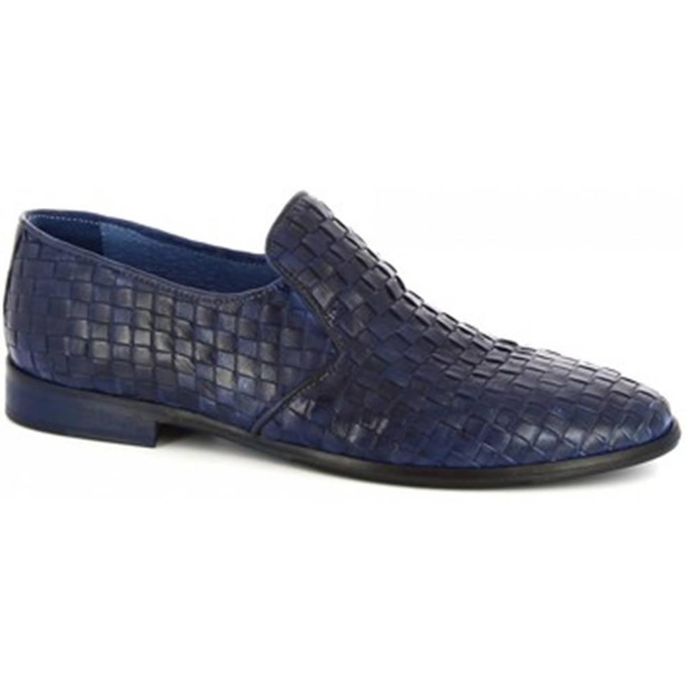 Leonardo Shoes Mokasíny  34301/2 PAPUA TUFF INTRECCIATO BLU