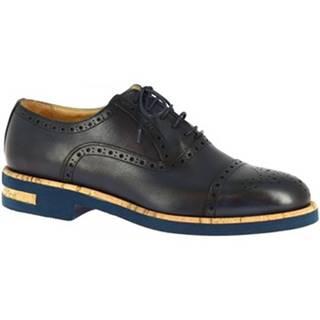 Derbie Leonardo Shoes  1027_1 PE VITELLO BLUE
