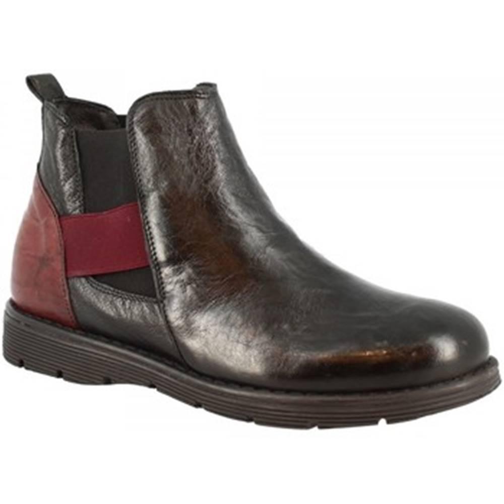 Leonardo Shoes Polokozačky Leonardo Shoes  3005 NERO BORDO