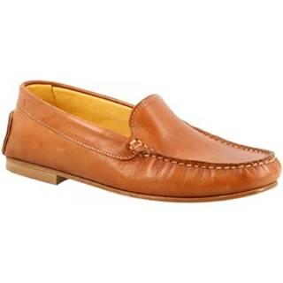 Mokasíny Leonardo Shoes  500 VITELLO BRANDY
