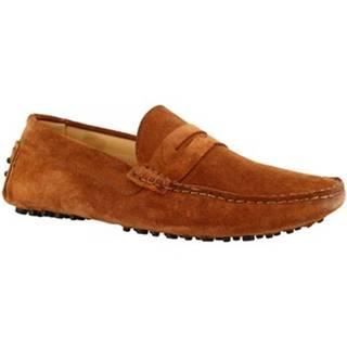 Mokasíny Leonardo Shoes  503 CAMOSCIO MARRONE