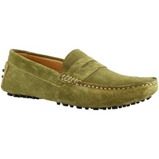 Mokasíny Leonardo Shoes  503 CAMOSCIO VERDE OLIVA UOMO