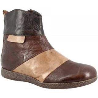 Polokozačky Leonardo Shoes  2535 TAUPE MORO NERO