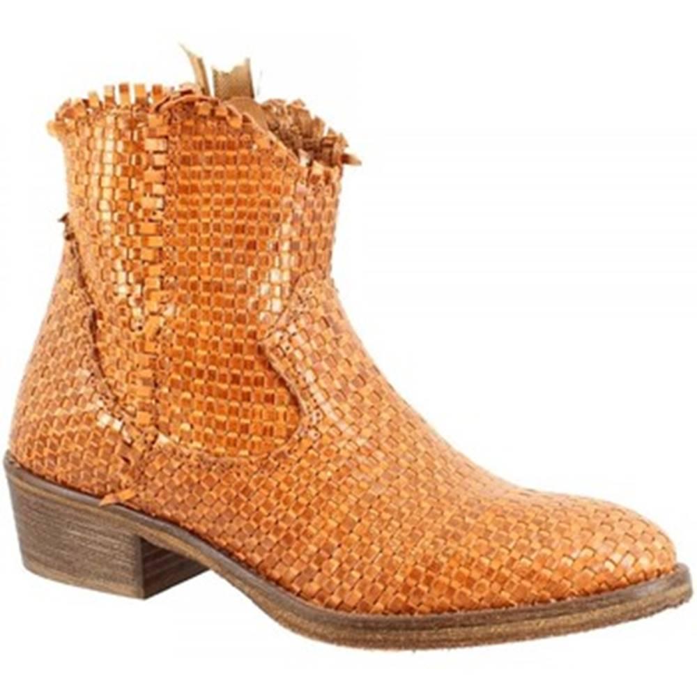 Leonardo Shoes Polokozačky Leonardo Shoes  CP833B INTRECCIO CUOIO