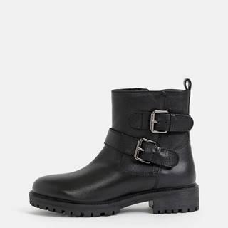 Čierne dámske kožené členkové zimné topánky Geox Hoara