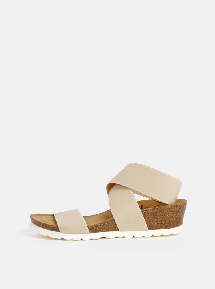 Béžové sandále na plnom pod...