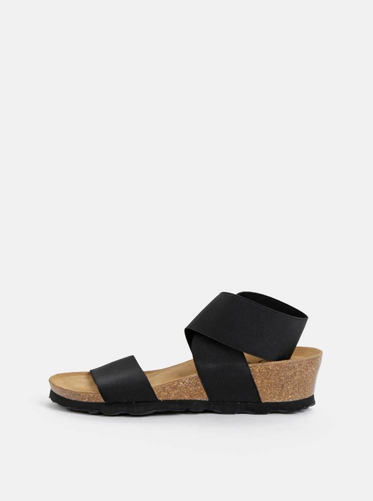 OJJU Čierne sandále na plnom podpätku s elastickými pásmi OJJU