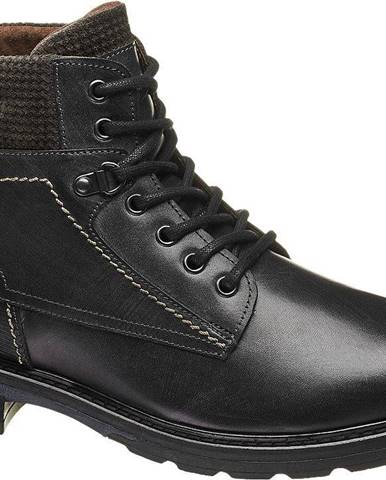 Čierna kožená členková obuv