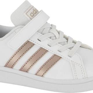 adidas - Biele tenisky na suchý zips Adidas Grand Court C