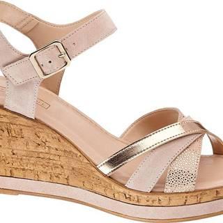 5th Avenue - Kožené sandále na klinovom podpätku