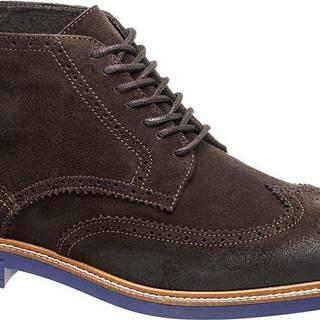 AM SHOE - Hnedá kožená členková obuv AM SHOE