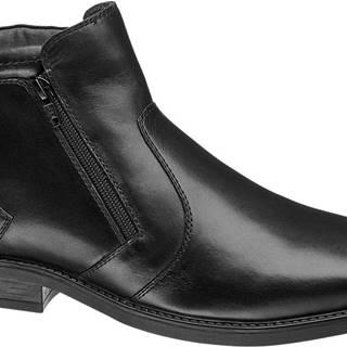 Claudio Conti - Čierna kožená členková obuv so zipsom Claudio Conti