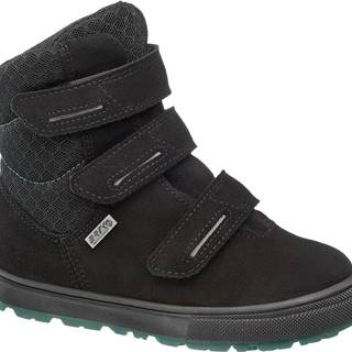 Bartek - Čierna kožená zimná obuv na suchý zips s TEX membránou Bartek
