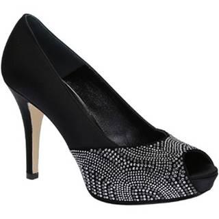 Lodičky Leonardo Shoes  17125 SATIN NERO CAMOSCIO NERO T 2693P F L