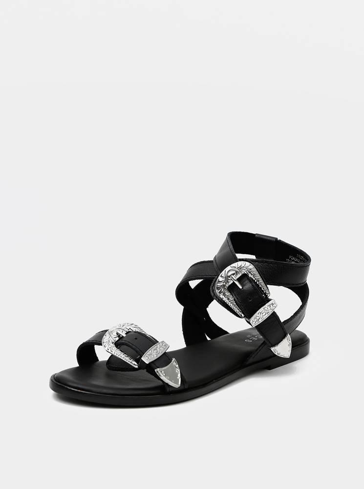 Pieces Čierne kožené sandále Pieces Adine