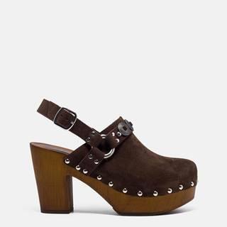 Hnedé semišové sandálky na podpätku Replay