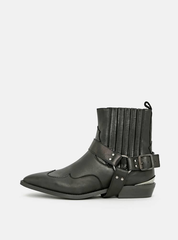 Selected Femme Čierne kožené členkové topánky Selected Femme Abigail